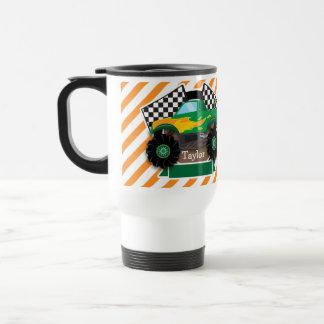 Green Monster Truck, Checkered Flag; Orange Stripe 15 Oz Stainless Steel Travel Mug