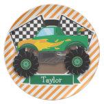 Green Monster Truck, Checkered Flag; Orange Stripe Dinner Plates