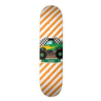 Green Monster Truck, Checkered Flag; Orange Stripe Skateboard Deck