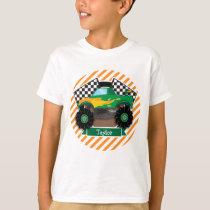 Green Monster Truck, Checkered Flag; Orange Stripe T-Shirt