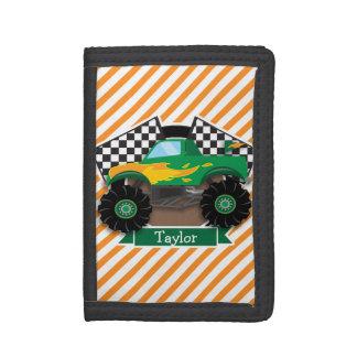 Green Monster Truck, Checkered Flag; Orange Stripe Trifold Wallet