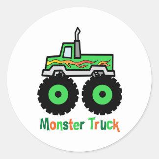Green Monster Truck Classic Round Sticker