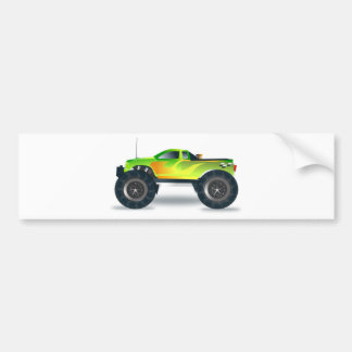 Green Monster Truck with Flames Painted On Side Bumper Sticker