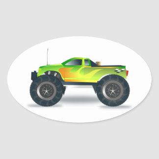 Green Monster Truck with Flames Painted On Side Oval Sticker