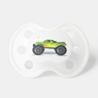 Green Monster Truck with Flames Painted On Side BooginHead Pacifier