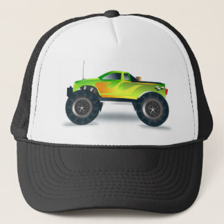 Green Monster Truck with Flames Painted On Side Trucker Hat