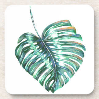 Green monstera leaf palm tropical drink coaster