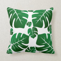 Green Monstera Plant Leaves Throw Pillow