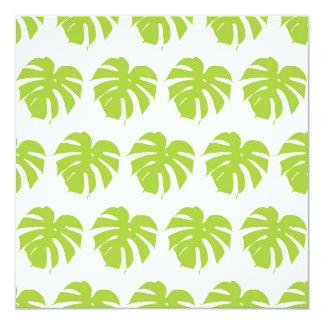 Green monstera tropical leaf pattern card