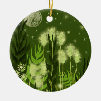 Green Moon Fantasy Art Ceramic Ornament