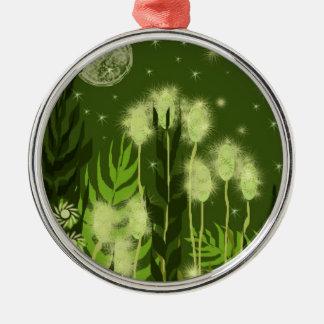 Green Moon Fantasy Art Metal Ornament