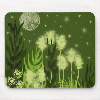 Green Moon Fantasy Art Mouse Pads
