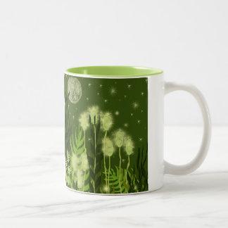 Green Moon Fantasy Art Two-Tone Coffee Mug
