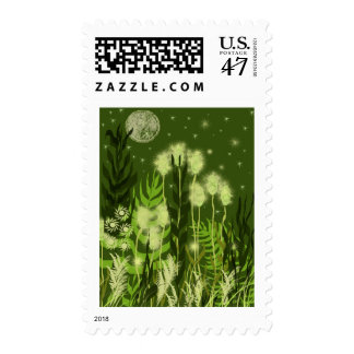 Green Moon Fantasy Stamp