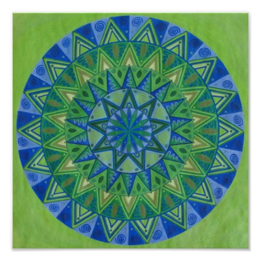 Green Moon Mandala Poster