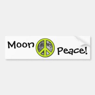 Green Moon Peace Sign Car Bumper Sticker