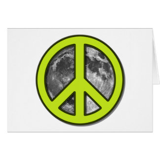 Green Moon Peace Sign - Greeting Card