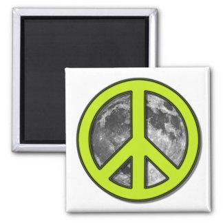 Green Moon Peace Sign Magnet