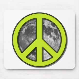 Green Moon Peace Sign - Mouse Pad