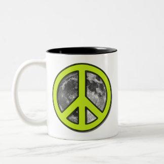 Green Moon Peace Sign Mug