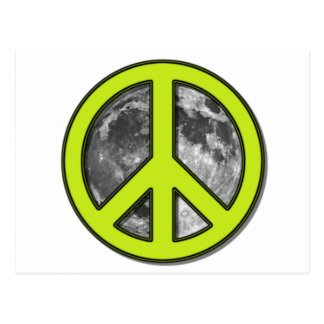 Green Moon Peace Sign Postcard