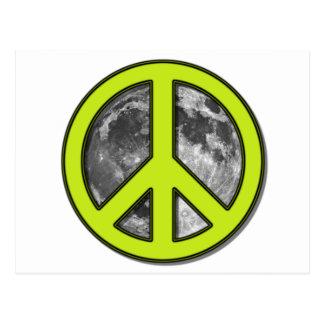 Green Moon Peace Sign Postcard