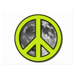 Green Moon Peace Sign - Postcard