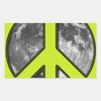 Green Moon Peace Sign - Rectangular Sticker