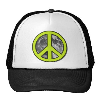 Green Moon Peace Sign Trucker Hat