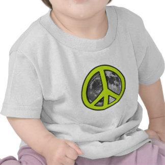 Green Moon Peace Sign - T-shirts