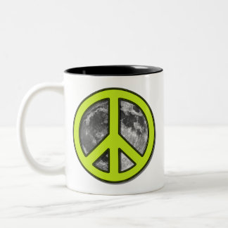 Green Moon Peace Sign Two-Tone Coffee Mug