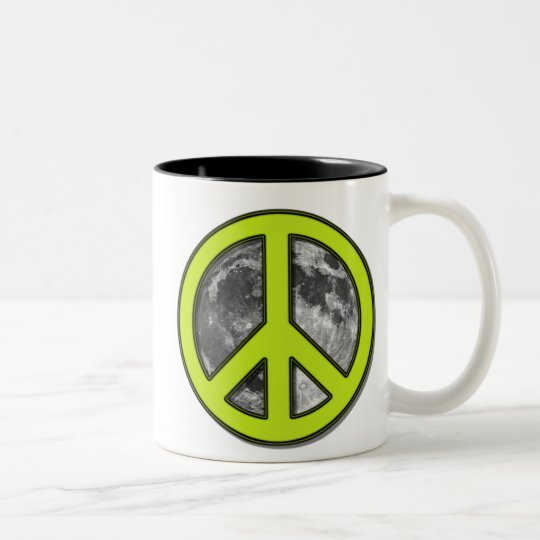 Green Moon Peace Sign - Two-Tone Coffee Mug