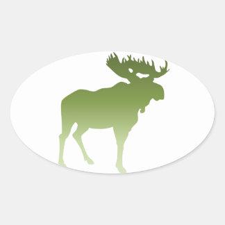 Green Moose Oval Sticker