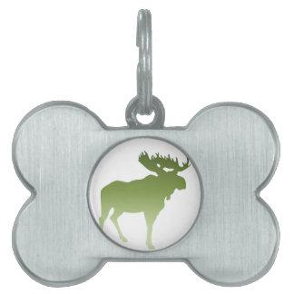 Green Moose Pet Name Tag
