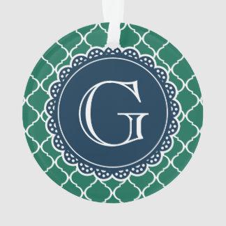 Green Moroccan Lattice Pattern Navy Monogram Ornament