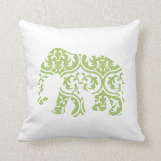 Green Moroccan Leaves Elephant Throw Pillow