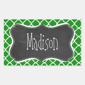 Green Moroccan Quatrefoil; Chalkboard look Rectangular Sticker