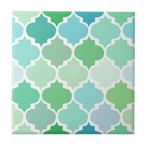 Green Moroccan Quatrefoil Pattern Chic Girly Fun Tile Zazzle
