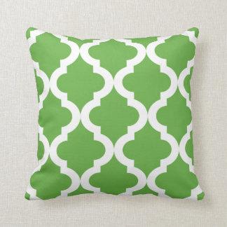 Green Moroccan Quatrefoil Throw Pillow