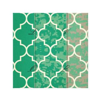 green,moroccan,quatrefoil,trendy,elegant,pattern, canvas print