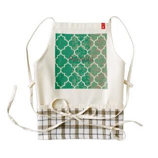 green,moroccan,quatrefoil,trendy,elegant,pattern, zazzle HEART apron