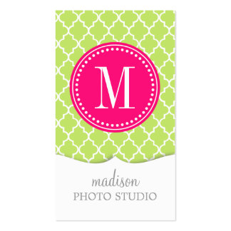 Green Moroccan Tiles Lattice Personalized Double-Sided Standard Business Cards (Pack Of 100)