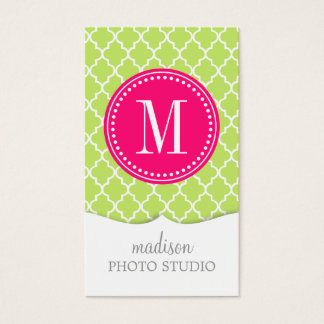 Green Moroccan Tiles Lattice Personalized Business Card
