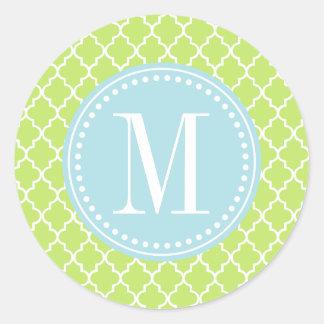 Green Moroccan Tiles Lattice Personalized Sticker