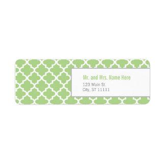 Green Moroccan Tiles Return Address Label