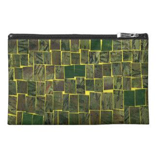 Green mosaic modern pattern travel accessories bag