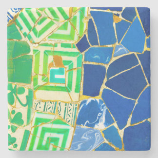 Green Mosaic Parc Guell Tiles in Barcelona Spain Stone Coaster