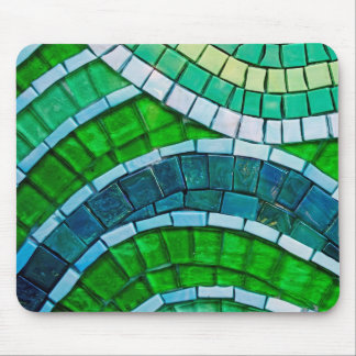 Green Mosaic Tiles Mouse Pad