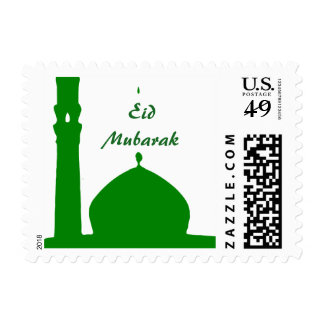 Green Mosque Islam Eid Mubarak Stamp