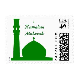 Green Mosque Islam Ramadan Mubarak Stamp